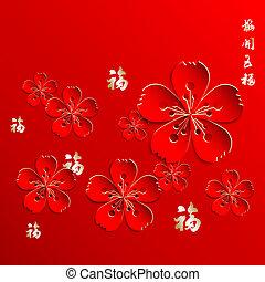 nieuw, bloem, chinees, achtergrond, jaar