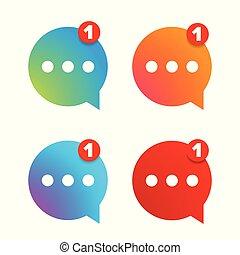 nieuw, boodschap, set, pictogram
