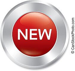 nieuw, button., nieuw, rood, ronde, sticker., isolated.
