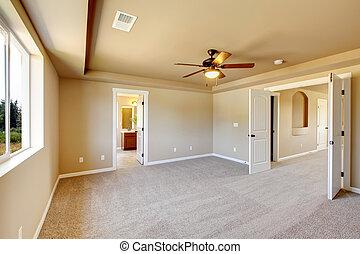 nieuw, carpet., kamer, lege, beige