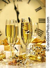 nieuw, champagne, middernacht, jaar