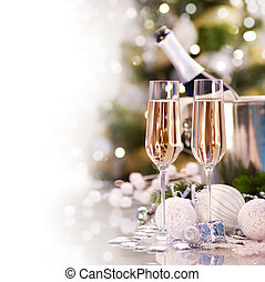 nieuw, champagne, ontwerp, kaart, jaar
