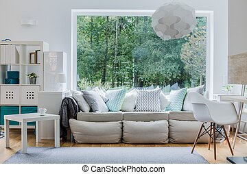 nieuw, comfortabel, sofa, met, kussens