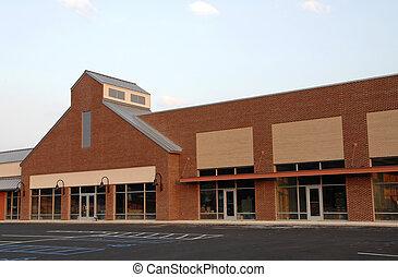nieuw, commercieel gebouw, ruimte
