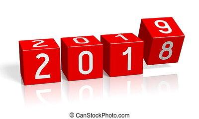 nieuw, concept, 2018/2019, veranderen, jaar