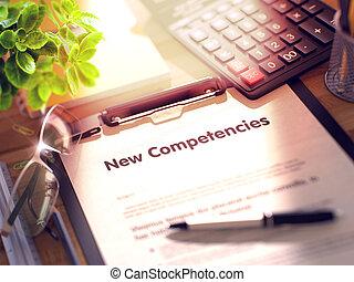 nieuw, concept., competencies, klembord, 3d