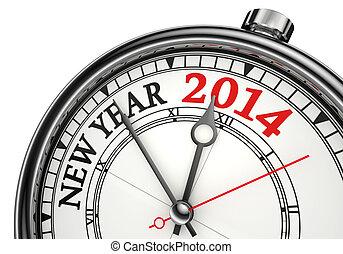 nieuw, concept, jaar, klok, 2014