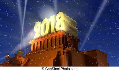 nieuw, concept, vakantie, 2018, jaar