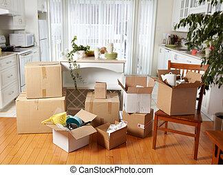 nieuw, dozen, house., verhuizing