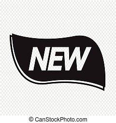 nieuw, etiket, pictogram