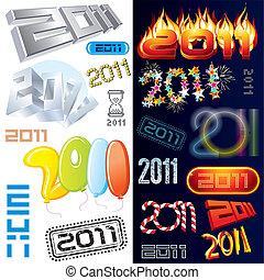 nieuw, etiketten, jaar, markeringen