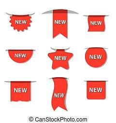 nieuw, etiketten, reclame
