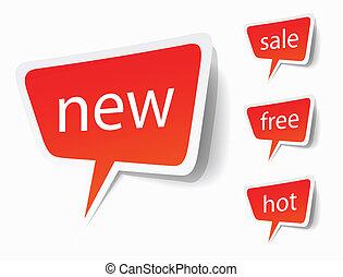nieuw, etiketten, stickers, verkoop, of