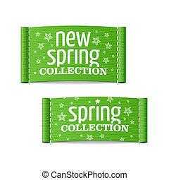 nieuw, etiketten, verzameling, lente