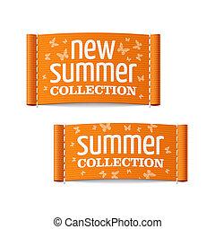 nieuw, etiketten, verzameling, zomer