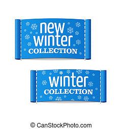 nieuw, etiketten, winter, verzameling