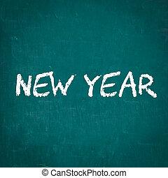 nieuw, geschreven, chalkboard, jaar