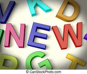 nieuw, geschreven, in, veelkleurig, plastic, geitjes, brieven