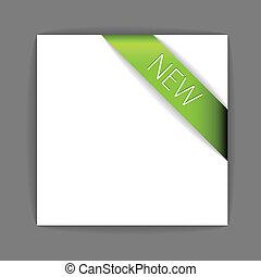 nieuw, groene, lint, hoek