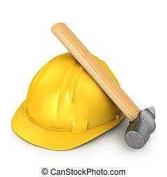 nieuw, hamer, gele, helm
