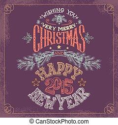 nieuw, hand-lettering, kerstmis, jaar