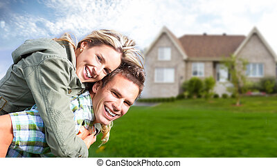 nieuw, house., gezin, vrolijke