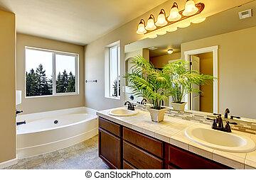 nieuw huis, badkamer, met, douche, en, bath.