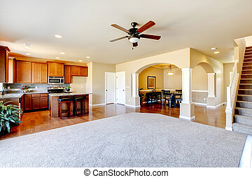 nieuw huis, keuken, interieur, en, woonkamer, interieur