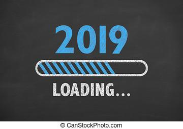 nieuw, inlading, 2019, chalkboard, jaar