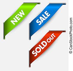 nieuw, items, sold, linten, verkoop, hoek, vector, uit