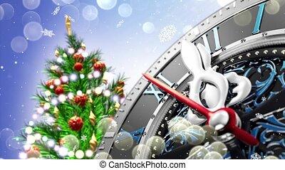 nieuw jaar, op, middernacht, -, oud, klok, met, sterretjes, snowflakes, en, vakantie, lights.