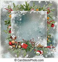 nieuw, kerstmis kaart, jaar
