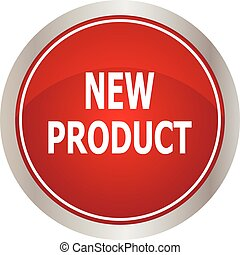 nieuw, knoop, product, rood, ronde