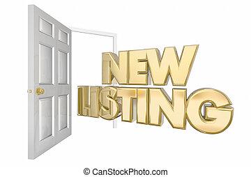 nieuw, lijst, huis voor verkoop, open deur, woorden, 3d, illustratie