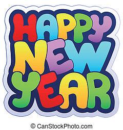 nieuw, meldingsbord, vrolijke , jaar