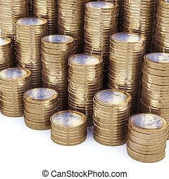 nieuw, muntjes, stapel, achtergrond, eurobiljet