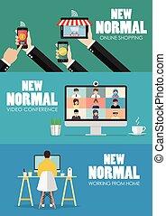 nieuw, normaal, levensstijl, concept, technologie