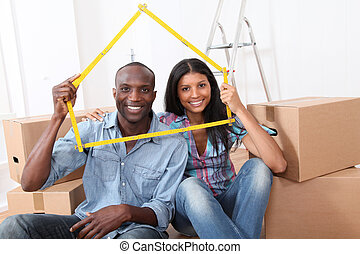 nieuw, paar, jonge, aankoop thuis