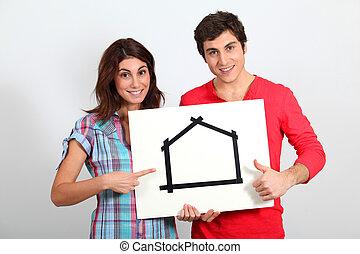 nieuw, paar, jonge, kopend huis