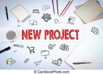 nieuw, plan, concept., de, vergadering, op, de, witte , kantoor, tafel