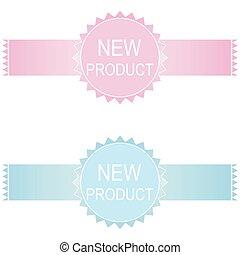 nieuw product, set, sticker