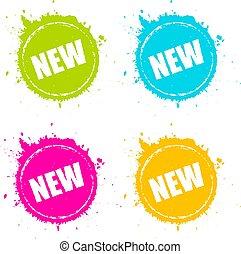 nieuw product, splattered, pictogram