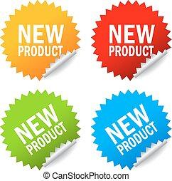 nieuw product, sticker