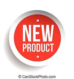 nieuw product, sticker, rood