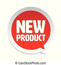 nieuw product, toespraak, sticker, bel