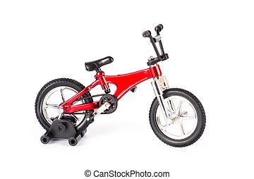 nieuw, rode fiets, vrijstaand