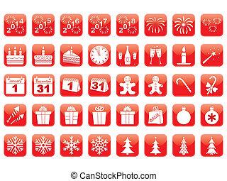 nieuw, set, jaar, iconen