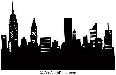 nieuw, skyline, spotprent, york