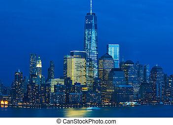 nieuw, skyline, stad, manhattan, york
