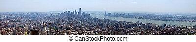 nieuw, skyline, stad, york, panoramisch